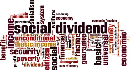 unconditional: Social dividend word cloud concept. Vector illustration
