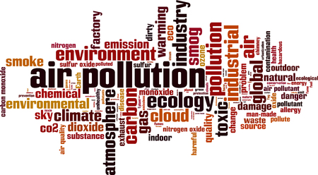 manmade: Air pollution word cloud concept. Vector illustration