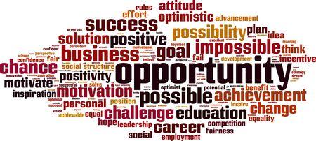 achievable: Opportunity word cloud concept. Vector illustration