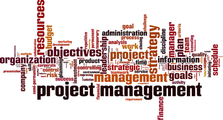 initiating: Project management word cloud concept. Vector illustration