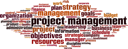 Project management word cloud concept. Vector illustration