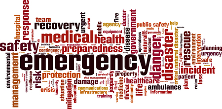 Emergency word cloud concept. Vector illustration