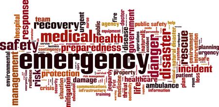 mot, nuage, concept d'urgence. Vector illustration