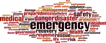 Emergency word cloud concept. vector illustratie Stock Illustratie