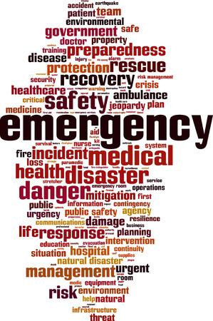 Emergency word cloud concept. vector illustratie Vector Illustratie