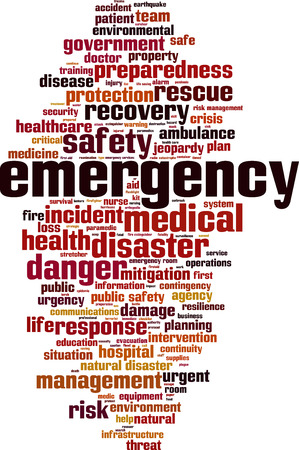 disaster preparedness: Emergency word cloud concept. Vector illustration
