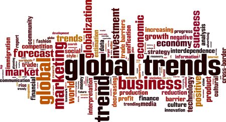 interdependence: Global trends word cloud concept. Vector illustration Illustration