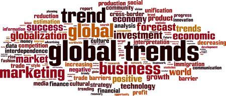 Global trends word cloud concept. Vector illustration Illustration