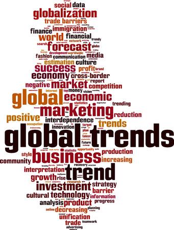 interdependence: Global trends word cloud concept. Vector illustration Illustration