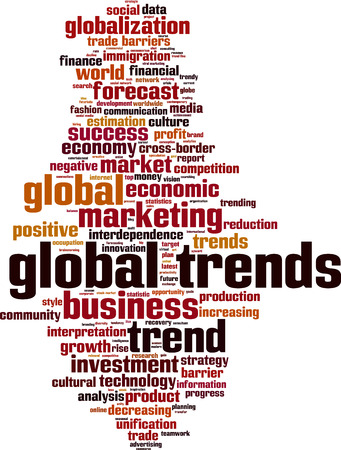 Global trends word cloud concept. Vector illustration Vectores