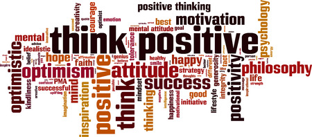 tact: Think positive word cloud concept. Vector illustration