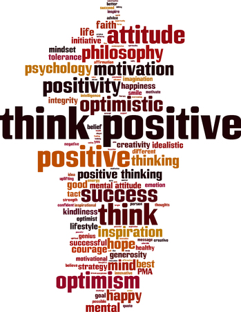 at tact: Think positive word cloud concept. Vector illustration