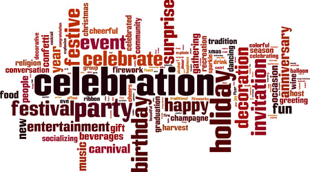 socializando: Celebration word cloud concept. Vector illustration