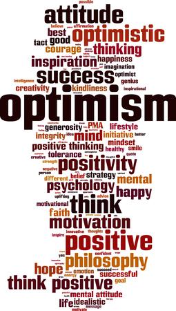 tact: Optimism word cloud concept. Vector illustration