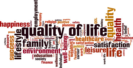 Quality of life word cloud concept. Vector illustration Vettoriali