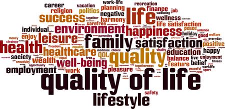 Calidad de vida concepto de nube de palabra. ilustración vectorial