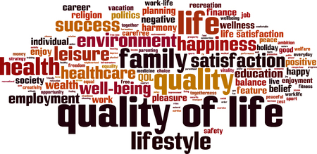 Quality of life word cloud concept. Vector illustration Иллюстрация