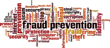 Fraud prevention word cloud concept. Vector illustration Ilustrace