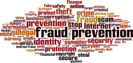Fraudepreventie word cloud concept. vector illustratie