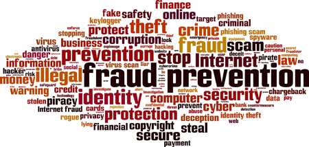 La prevención del fraude concepto de nube de palabras. ilustración vectorial