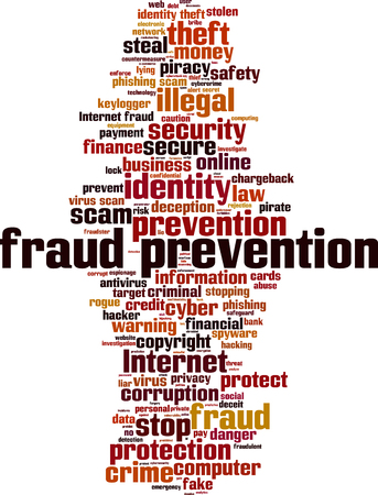 detection: Fraud prevention word cloud concept. Vector illustration Illustration