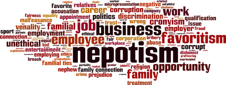 nepotism: Nepotism word cloud concept. Vector illustration