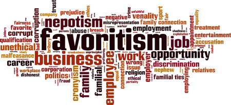 Favoritism word cloud concept. Vector illustration