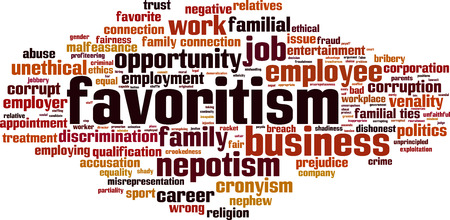 nepotism: Favoritism word cloud concept. Vector illustration