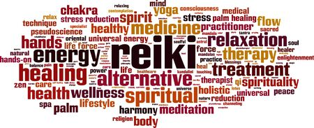 pseudoscience: Reiki word cloud concept. Vector illustration