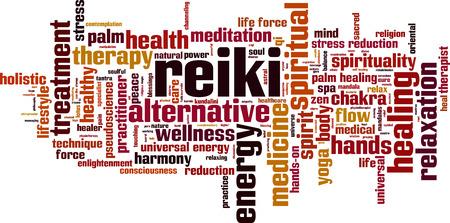 reiki: Reiki word cloud concept. Vector illustration