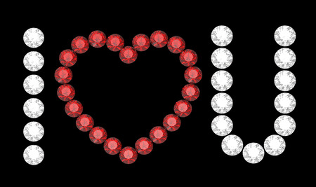 I love you, message composed of diamonds, 3d rendering