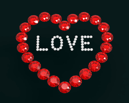 Heart of diamonds with word love, 3D rendering Stock Photo