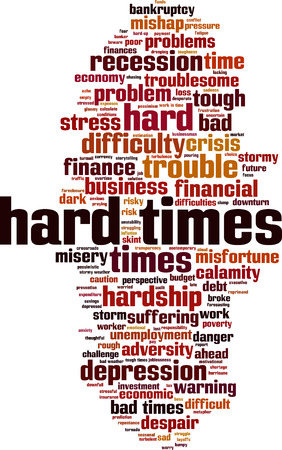 misery: Hard times word cloud concept. Vector illustration
