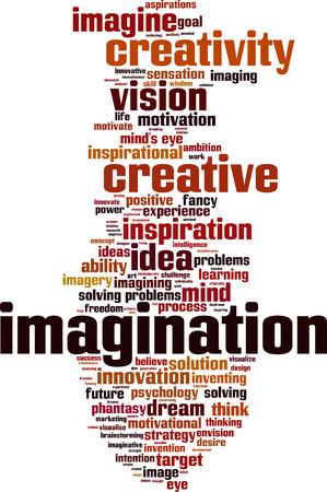 inventing: Imagination word cloud concept. Vector illustration Illustration