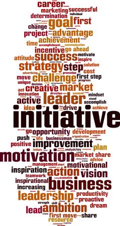 initiate: Initiative word cloud concept. Vector illustration