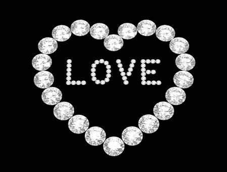 Heart of diamonds with word love, 3D rendering on black Stock Photo
