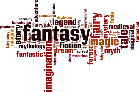 Fantasy word cloud concept. Vector illustration