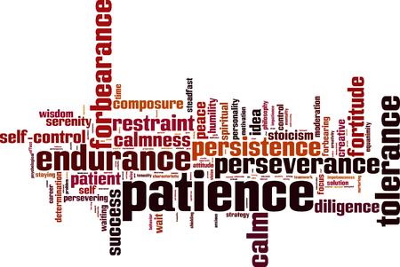 paciencia: La paciencia palabra nube concepto. ilustración vectorial