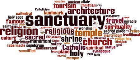 tabernacle: Sanctuary word cloud concept. Vector illustration