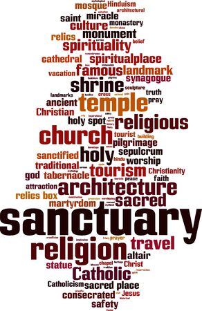 consecrated: Sanctuary word cloud concept. Vector illustration