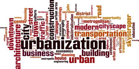 jobs: Urbanization word cloud concept. Vector illustration Illustration