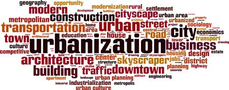 urbanized: Urbanization word cloud concept. Vector illustration Illustration