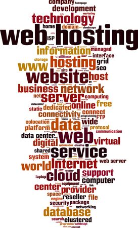 colocation: Web hosting word cloud concept. Vector illustration