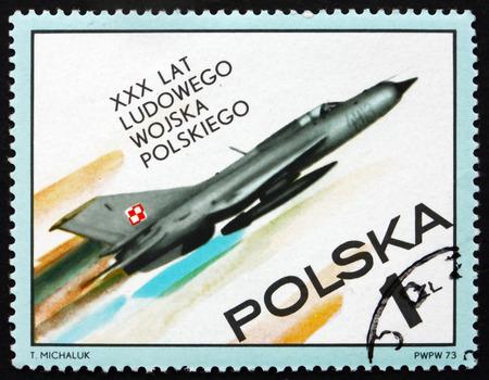 fighter plane: POLAND - CIRCA 1973: a stamp printed in Poland shows Fighter Plane, Polish People�s Army, 30th Anniversary, circa 1973