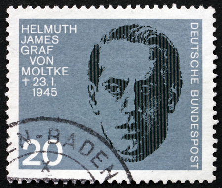 adolf hitler: GERMANY - CIRCA 1964: a stamp printed in Germany shows Count James von Moltke, 20th Anniversary of Assassination Attempt on Adolf Hitler, circa 1964
