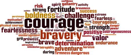 mot de concept de nuage de courage. Vector illustration Vecteurs