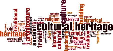 Cultural heritage word cloud concept. Vector illustration Illustration
