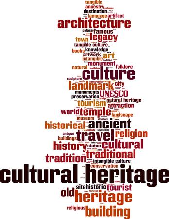patrimonio cultural concepto de nube de palabras. ilustración vectorial