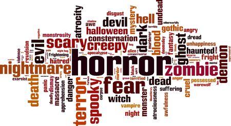 revulsion: Horror word cloud concept. Vector illustration