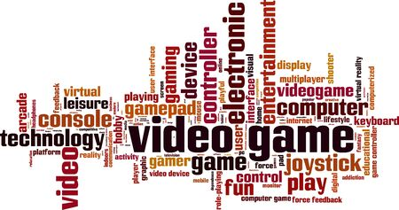 Video game word cloud concept. Vector illustration Illustration